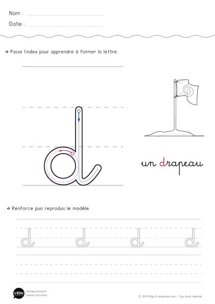 écrire La Lettre D Minuscule Cursive Fiche Lettre D