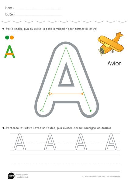 Apprendre à écrire la lettre A en capitale | Fiche d ...