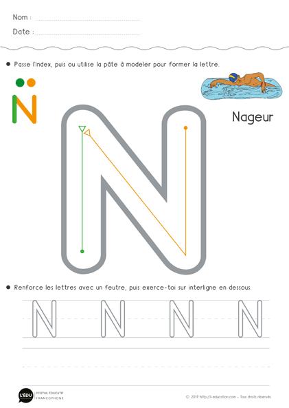 Apprendre à écrire La Lettre N En Capitale Fiche D