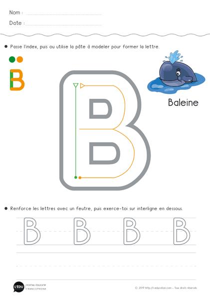 Apprendre à écrire La Lettre B En Capitale Fiche D