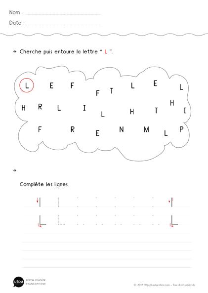 Apprendre à écrire la lettre L en capitale | Fiche d ...