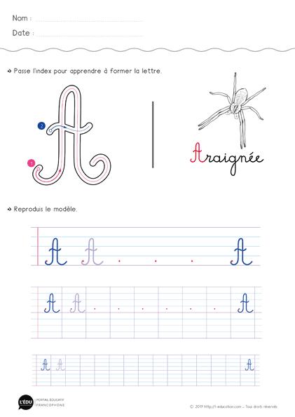 Apprendre à écrire La Lettre A Majuscule Cursive Fiche D