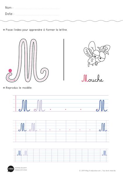 Apprendre à écrire La Lettre M Majuscule Cursive Fiche D