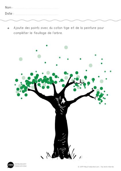 Graphisme le Point en Maternelle | Faire le feuillage de l'arbre