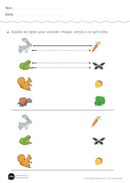 Fiche Graphisme Lignes Horizontales A Imprimer Animaux Et Repas 1