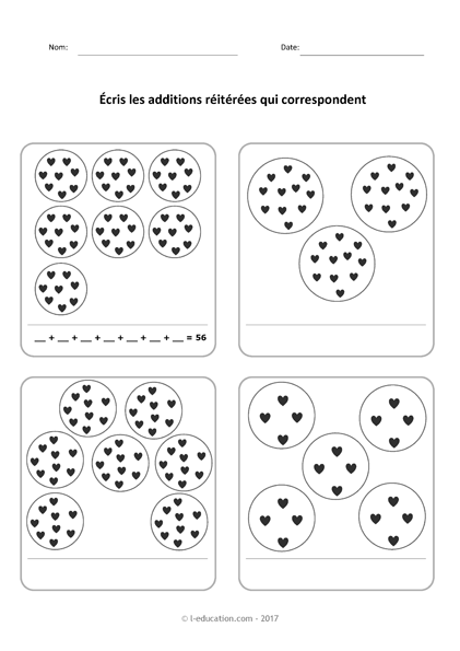 Le sens de la multiplication - Décomposer les multiplications en additions réitérées?