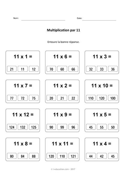 Cours Jeu Table De Multiplication De 11 Multiplier Par 11