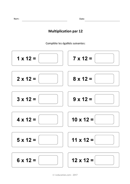 Cours Jeu Table De Multiplication De 12 Multiplier Par 12